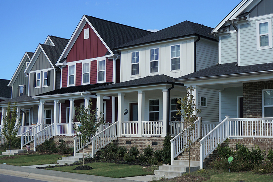 Tennessee - A Row of Multicolored Houses in Tennessee Suburb